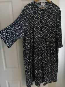Bnwts New look curves plus navy floral Jersey shirt dress size 22 24 RRP £28