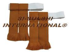 SI - IRISH SAFFRON KILT HOSE FLASHES with FRINGED END ( BRAND NEW )