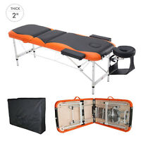"73"" 3 Section Foldable Massage Table Professional Salon SPA Couch Bed"