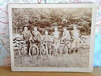 Bicycle Black & White Photograph 1920s w Men on Stone Wall. Vintage Mounted