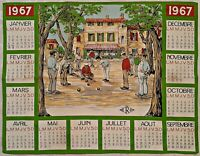 VINTAGE AUTHENTIC ERO 1967 SPORT ART GREEN  COTTON CALENDAR KITCHEN TEA TOWEL