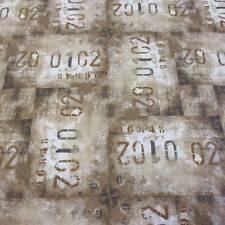 Stoff Baumwolle Meterware braun beige Zahlen shabby Dekostoff Bekleidung 2017