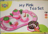lelin my pink tea set new 14 pc wooden toy tea set new slight damage to box