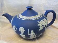 Wedgwood England Dark Blue White Jasper Dip Lge 10� Wide Teapot V Good Cond