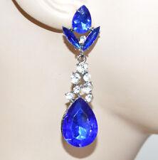 ORECCHINI strass pendenti cristalli blu donna grigio elegante festa party A27