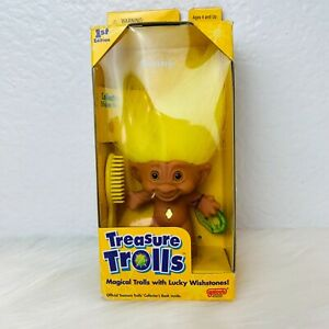 Vintage Galoob 1998 Treasure Trolls Sunny Yellow New in Package Box Not Perfect