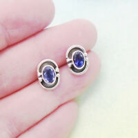 Iolith blau blue oval Design Stecker Ohrringe Ohrstecker 925 Sterling Silber neu