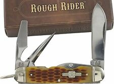 ROUGH RIDER Amber Jigged Handle CAMP Scout Pocket Knife RR533 Can Opener Pick