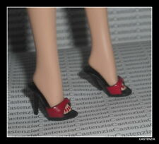 SHOES BARBIE DOLL GREASE RIZZO RED & BLACK MULES HIGH HEELS SANDALS ACCESSORY
