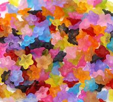 25 perles intercalaires fleur multicolores givrée en lucite 10 x 4 mm