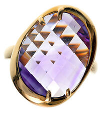 14K Yellow Gold 8.00 Ct tw Faceted Amethyst Ring Size 6