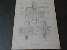 1847 STEEL ENGRAVING GREECE ATHENS Metropolitan Cathedral of the Annunciation