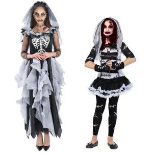 Adult Kids Scary Halloween Zombie Bride Day of Dead Horror Fancy Dress Costume