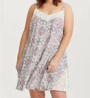 d6d1e7f0719 Torrid Ivory Lace Floral Inset Challis A Line Dress 00X Med Large 10  84413