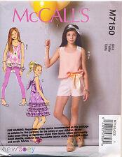 MCCALL'S SEWING PATTERN 7150 GIRLS SZ 3-6 DRESS, TUNIC, TOP SHORTS & LEGGINGS