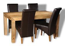 DAKOTA LIGHT SOLID MANGO 160CM DINING TABLE &4 BROWN ROLLBACK CHAIRS (30L&4A1LR)