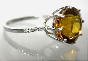 Golden Citrine w Diamond accents Ring Statement UK- O 9ct White Gold B/ham HM
