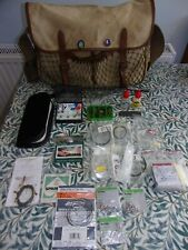 Vintage Canvas Leather Fly Fishing River Trout  Angling Tackle Game Bag + Extras