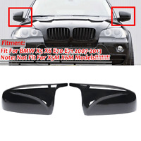 2pcs Glossy Black Rear View Cap Cover Trim M Style For BMW X5 X6 E70 E71 2007-13