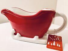 CHRISTMAS SLEIGH RED CERAMIC GRAVY BOAT SAUCE CUSTARD CREAM SERVING JUG 500ML