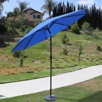 9' Ft Hanging Umbrella Patio Sun Shade Offset Outdoor Market W/ Cross Base Tan