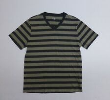 Gap Mens Size M Gray Striped V-Neck T Shirt Excellent Condition