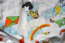Vintage PEANUTS Twin Fitted Sheet Charlie Brown Patty Snoopy Rainbow FABRIC #L23