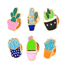 Colorful Collection of Succulents Pins Brooches 6 Pcs Lot Enamel Cactus Brooch
