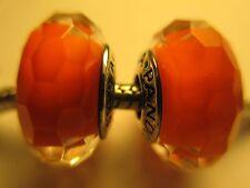 Set 2 Authentic Pandora Silver 925 Ale Fascinating Orange Glass Bead Charm New