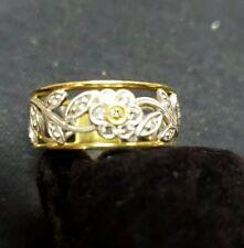 Flower & Leaf Design Right Hand Ring 18k Gold Yellow & White Diamond Simon G
