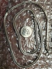 New listing Heavy Herring Bone Box Chain Styled Sterling Silver Necklace Vintage