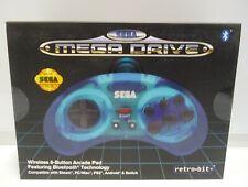 OFFICIAL SEGA MEGA DRIVE RETRO-BIT BLUE GAMEPAD WIRELESS FOR PC MAC SWITCH PS3
