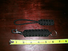 """Paracord 6-7"""" Lanyard KeyChain Clip Combo - Black with ABS Clip & Metal Ring"""