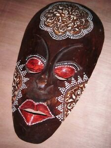 """Hand Carved & Painted Wooden Tribal Mask Face Wall Hanging H 12"""""""