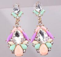 1 pair Elegant Red Crystal Rhinestone  Ear Drop Dangle Stud long  Earrings 993