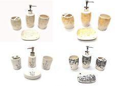 4 Piece Ceramic Bathroom Accessory Set - Birds & Trees