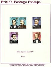 British Explorers Issue Postage Stamps Great Britain 1973 Specimens Set on Paper