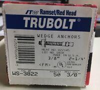 WS-3822 Trubolt Wedge Anchors 3/8X2-1/4 Concrete Red Head Bolts Stud USA 50 Pcs