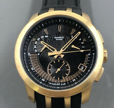 Men's Swatch Rose Gold Chronograph On Original Leather Strap