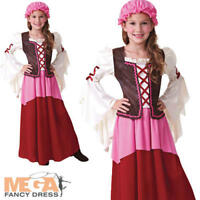Tavern Medieval Girl + Hat Fancy Dress Renaissance Tudor Kids Childs Costume New