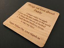 Personalised Wooden Coaster, Mum, Dad, Friend. Birthday/Anniversary/Fathers Day