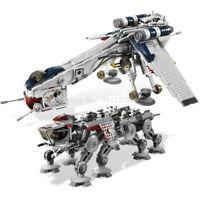 Star Wars Republic Dropship + AT-OT Walker Equivalent 10195 Compatible With!!!