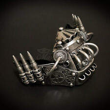 Steampunk Mouth Protector Costume Gears and Bullets Masquerade Mask [Silver]