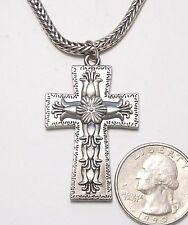 Ornate Flower Decorated Christian Cross Pendant Necklace, ST Wheat Chain, 18""