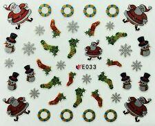 Nail Art 3D Decal Stickers Christmas Santa Stockings Snowman Snowflakes E033