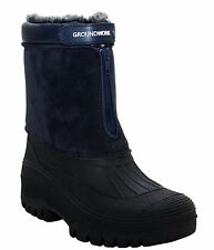WOMENS GROUNDWORK WARM FUR LINING WINTER SNOW THERMAL ZIP LADIES BOOTS WELLIES