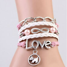 NEW Infinity Dog Love Pearl Leather Charm Bracelet plated Silver DIY Cute T2