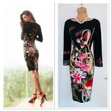 Joseph RIBKOFF Floral Roses Print Jersey Bodycon Dress Uk Size 10