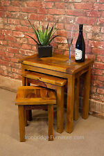 Jali Rosewood Honey Sheesham Solid Wood Nest of 3 Tables - Cross top design