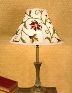 Victorian Trading Silk Wool Embroidered Wildflowers Floral Ivory Lamp Shade 13A